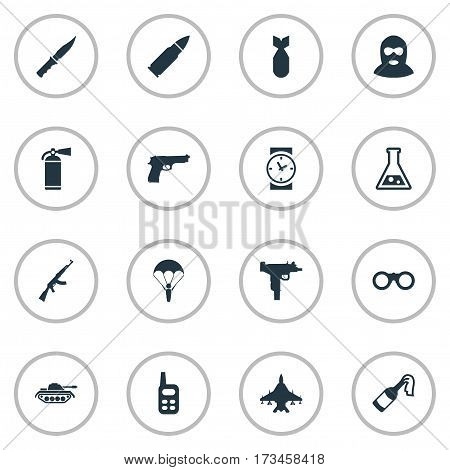 Set Of 16 Simple Battle Icons. Can Be Found Such Elements As Ammunition, Nuke, Heavy Weapon And Other.