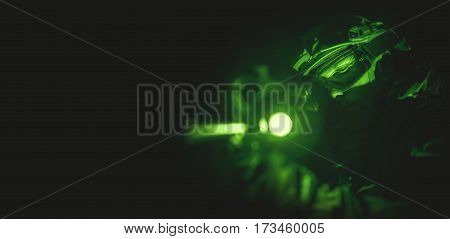 Military Tactical Banner in Night Vision Mode Color and Noise Grading.