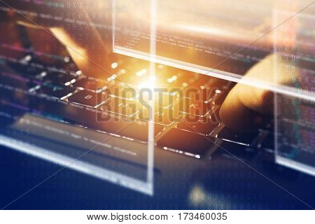 Modern Web Design Conceptual Image. Web Designer Working on His Laptop Computer. Abstract Transparent Source Code Windows.