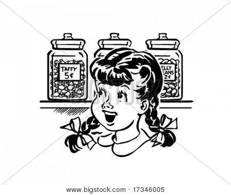 Girl In Candy Store - Retro Clip Art