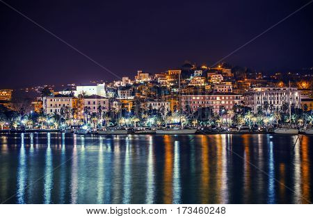 Night in the La Spezia Marina. City of La Spezia Panorama. Liguria Italy.