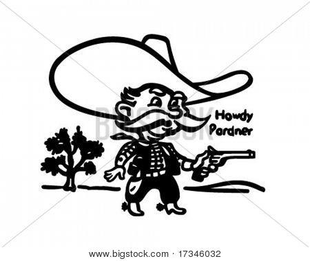 Howdy Pardner - Little Sheriff - Retro Clip Art