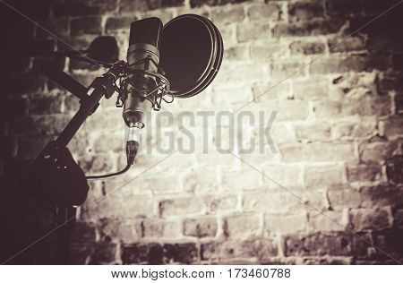 Recording Studio Equipment. Professional Audio Recording Microphone with Filter.