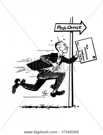 Late For The Mail - Retro Clip Art
