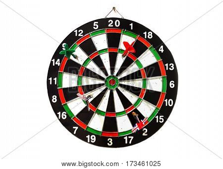 Dart arrow on game board over white