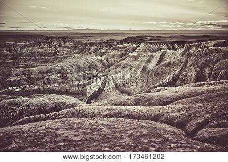 South Dakota Badlands Raw Dramatic Landscape. Badlands in Western State of South Dakota United States of America. Dramatic Duotone Sepia Color Grading.