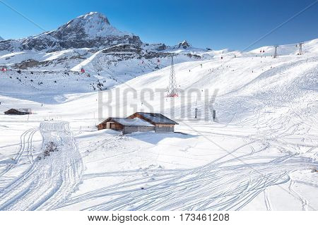 Jungfrau ski mountain resort in Swiss Alps with famous Eiger Monch and Jungfrau mountain Grindelwald Berner Oberland Grindelwald Switzerland.