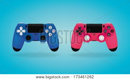 Blue and pink video game controllers. Realistic Gamepad.