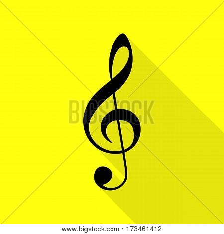 Music violin clef sign. G-clef. Treble clef. Black icon with flat style shadow path on yellow background.
