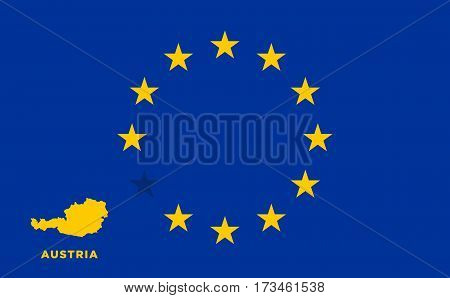 Referendum of the Austria membership of the European Union. EU flag with the country of Austria. The concept of leaving EU. Vector illustration