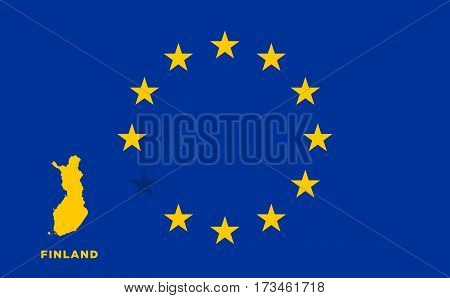 Referendum of the Finland membership of the European Union. EU flag with the country of Finland. The concept of leaving EU. Vector illustration