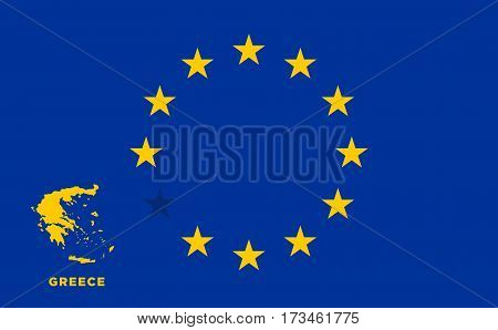 Referendum of the Greece membership of the European Union. EU flag with the country of Greece. The concept of leaving EU. Vector illustration