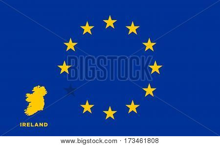 Referendum of the Ireland membership of the European Union. EU flag with the country of Ireland. The concept of leaving EU. Vector illustration