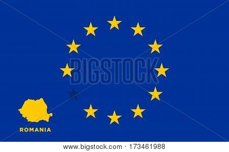 Referendum of the Romania membership of the European Union. EU flag with the country of Romania. The concept of leaving EU. Vector illustration