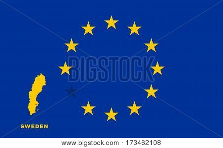 Referendum of the Sweden membership of the European Union. EU flag with the country of Sweden. The concept of leaving EU. Vector illustration