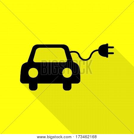 Eco electric car sign. Black icon with flat style shadow path on yellow background.