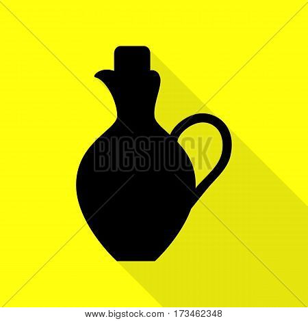 Amphora sign illustration. Black icon with flat style shadow path on yellow background.