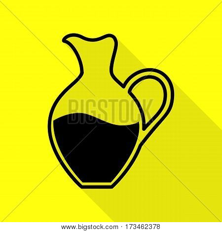 Amphora sign. Black icon with flat style shadow path on yellow background.