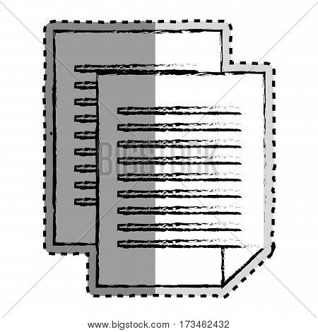 sticker monochrome blurred of document file vector illustration