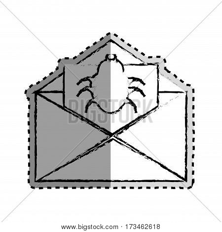 sticker monochrome blurred with with open envelope mail with beetle virus vector illustration