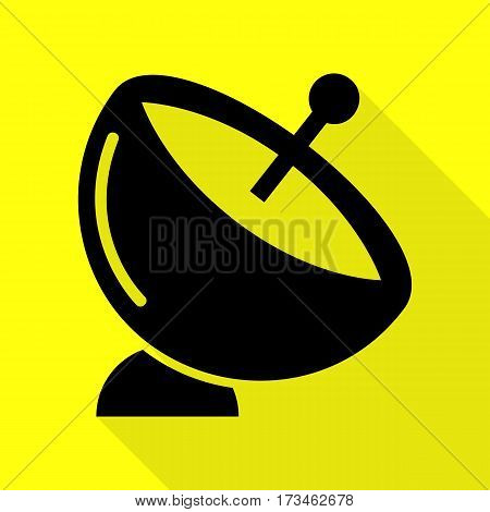 Satellite dish sign. Black icon with flat style shadow path on yellow background.