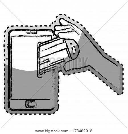 sticker monochrome blurred with cell phone and credit card vector illustration
