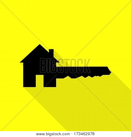 Home Key sign. Black icon with flat style shadow path on yellow background.