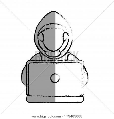 monochrome blurred contour with hacker faceless and laptop vector illustration