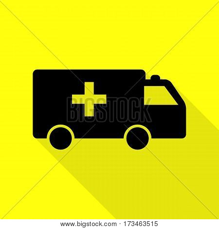 Ambulance sign illustration. Black icon with flat style shadow path on yellow background.