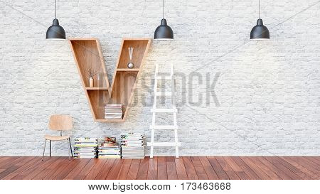A library with bookshelves a letter v. 3d render and illustration.