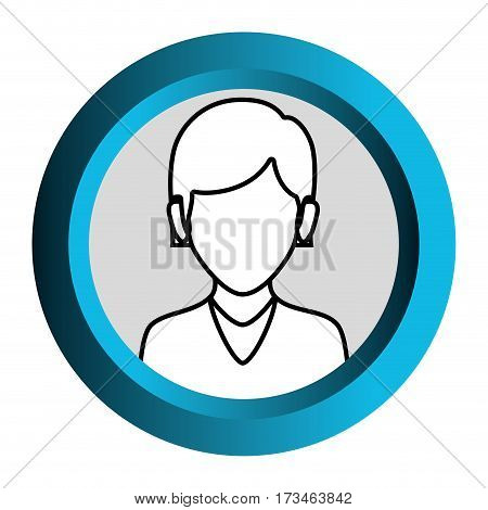 color frame with monochrome contour of faceless half body woman with straight short hair vector illustration