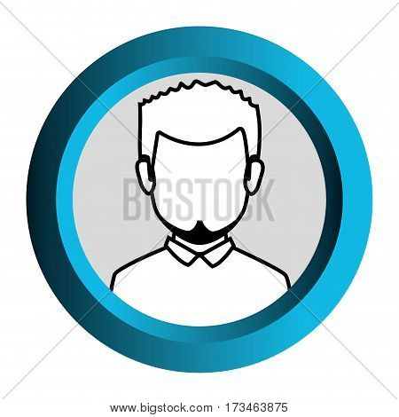 color frame with monochrome contour of faceless half body man with beard vector illustration