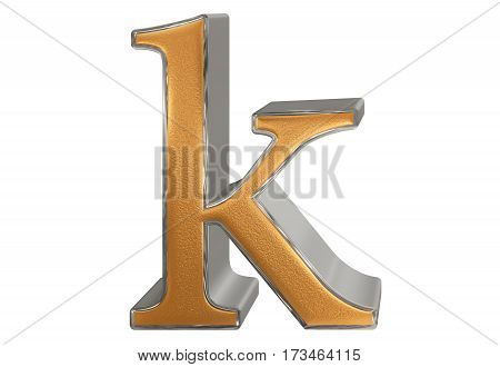 Lowercase Letter K, Isolated On White, With Clipping Path, 3D Illustration