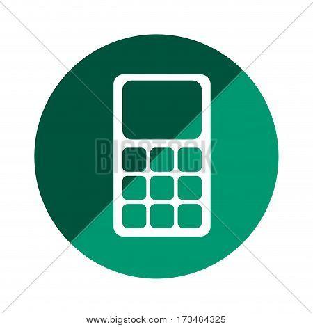 color circular emblem with calculator vector illustration