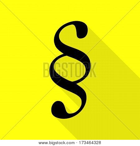 Paragraph sign illustration. Black icon with flat style shadow path on yellow background.