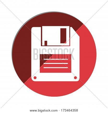 color circular emblem with floppy disk vector illustration