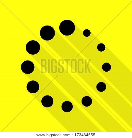 Circular loading sign. Black icon with flat style shadow path on yellow background.