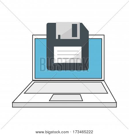 color silhouette with laptop and floppy disk vector illustration