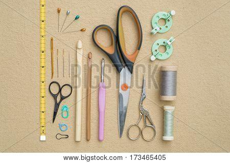 Sewing And Crocheting Tools Flat Lay