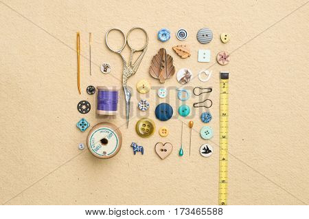 Sewing Tools, Assorted Buttons, And Tape Measure