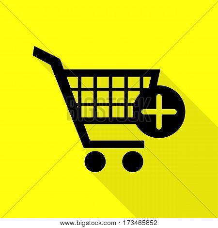Shopping Cart with add Mark sign. Black icon with flat style shadow path on yellow background.
