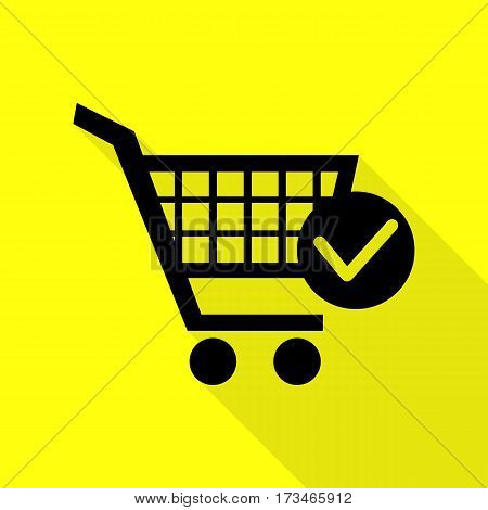 Shopping Cart with Check Mark sign. Black icon with flat style shadow path on yellow background.