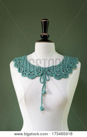 Handcrafted Woolen Green Crochet Collar On Mannequin