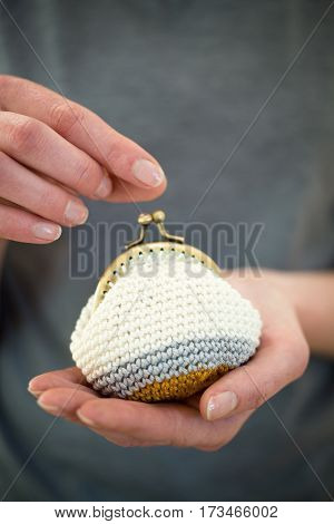 Three color handcrafted knitted woolen coin purse