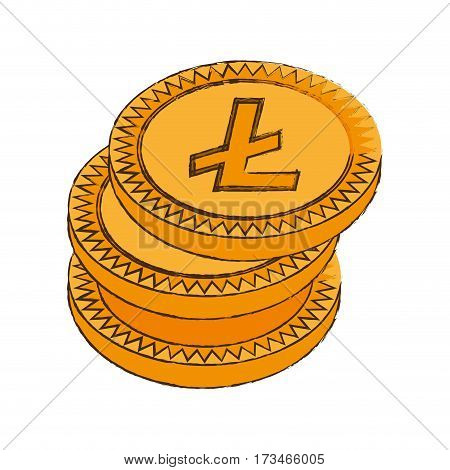 litecoin cryptocurrency stack icon vector illustration eps 10