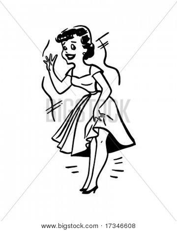 Lady In Distress - Retro Clipart Illustration