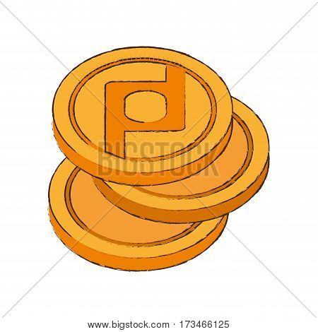 protoshare coin cryptocurrency stack icon vector illustration eps 10