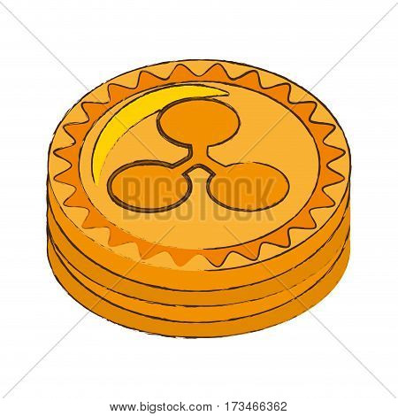 ripple coin cryptocurrency stack icon vector illustration eps 10