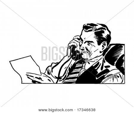 Man On The Phone - Retro Clipart Illustration