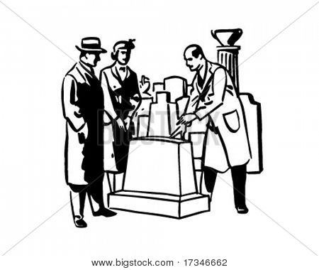 Man Selling Tombstone - Retro Clipart Illustration